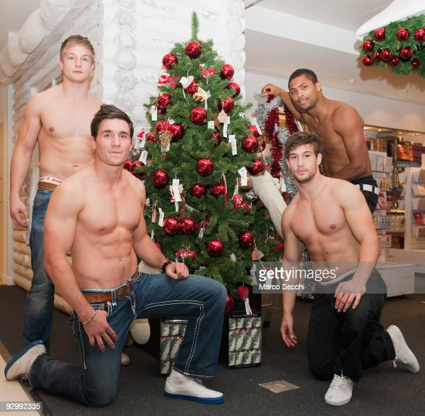 Will Matthews Nils Mordt Don Waulduck and Delon Armitage attend a photocall to launch the 'Rugby's Finest' calendar at Selfridges on November 11 2009...