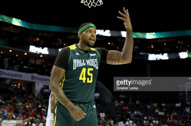 Will McDonald of Ball Hogs reacts against Enemies during week two of the BIG3 three on three basketball league at Spectrum Center on June 29, 2019 in...