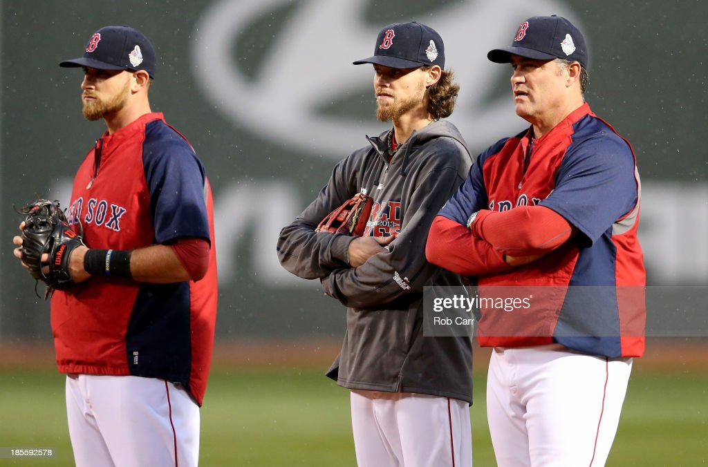 Will Middlebrooks #16, Clay Buchholz #11 and manager John Farrell #53 of the Boston Red Sox talk during team workout in the 2013 World Series Media Day at Fenway Park on October 22, 2013 in Boston, Massachusetts. The Red Sox host the Cardinals in Game 1 on October 23, 2013.