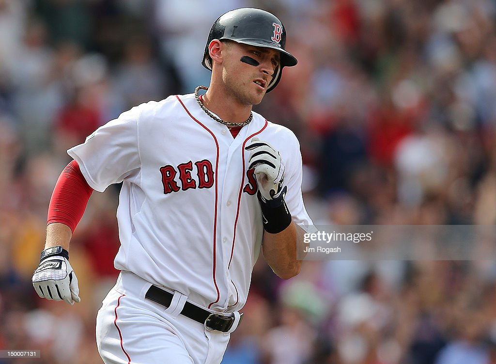Will Middlebrooks #64 of the Boston Red Sox rounds the bases on his home run in the seventh inning against the Boston Red Sox at Fenway Park August 8, 2012 in Boston, Massachusetts.