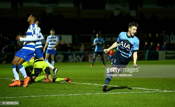 Will Miller of Spurs celebrates scoring their first goal during the Barclays U21 Premier League match between Reading U21 and Tottenham Hotspur U21...