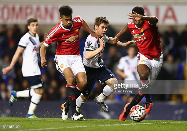 Will Miller of Spurs runs at the Man Utd defence during the U21 Barclays Premier League match between Tottenham Hotspur and Manchester United at...