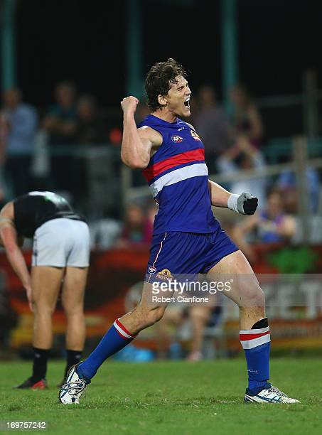 Will Minson of the Bulldogs celebrates on the final siren after the Bulldogs defeated the Power at the round ten AFL match between the Western...