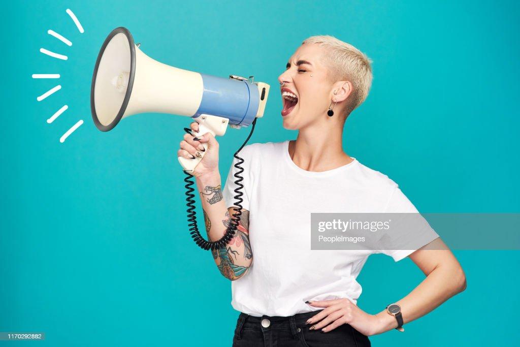 I will not be silenced!! : Stock Photo