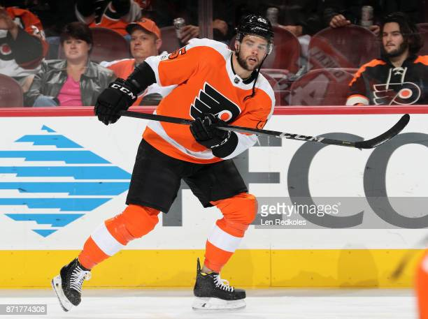 Will O'Neill of the Philadelphia Flyers skates during warmups prior to his game against the Colorado Avalanche on November 4 2017 at the Wells Fargo...