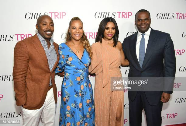 Will Packer Heather Hayslett Packer Regina Hall and Kasim Reed at Girls Trip Atlanta special screening at SCADshow on July 11 2017 in Atlanta Georgia