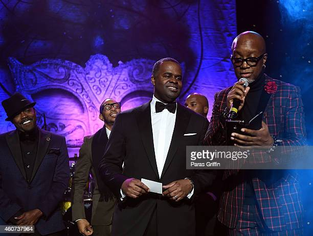 Will Packer Ludacris Kasim Reed and Jonathan Slocumb onstage at the 31st Annual UNCF Mayor's Masked Ball at Marriott Marquis Hotel on December 20...