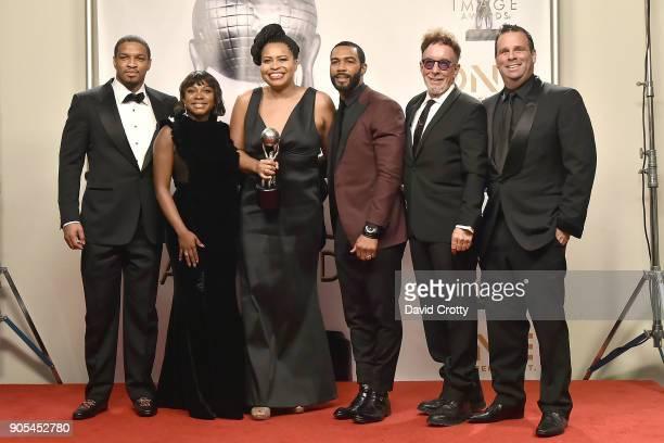 Will Packer Naturi Naughton Courtney Kemp Agboh Omari Hardwick Mark Canton and Randall Emmett attend the 49th NAACP Image Awards Press Room at...