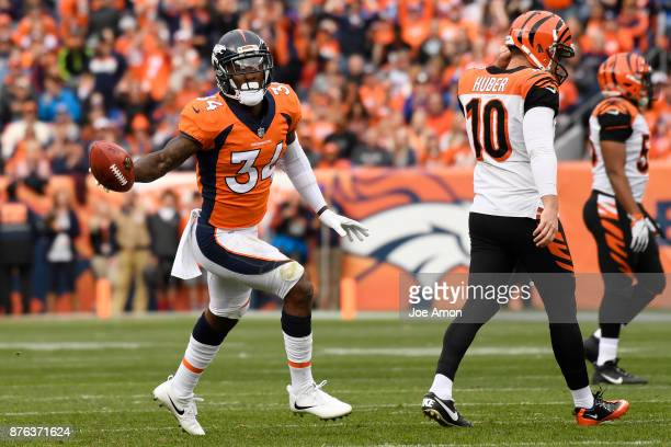 Will Parks of the Denver Broncos celebrates a blocked punt during the first quarter against the Cincinnati Bengals The Denver Broncos hosted the...