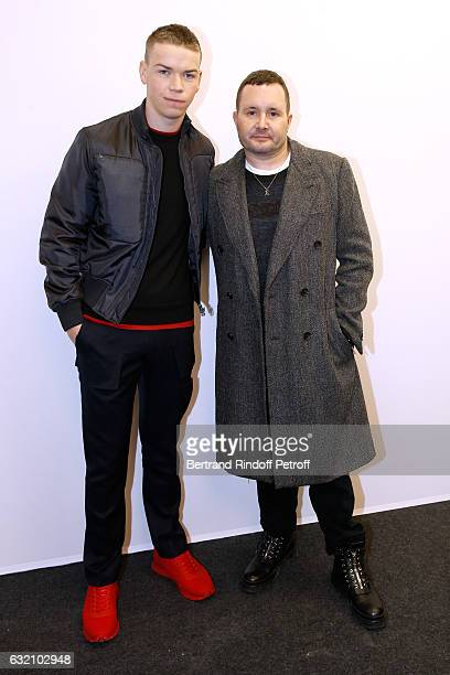 Will Poulter and Stylist Kim Jones pose Backstage after the Louis Vuitton Menswear Fall/Winter 20172018 show as part of Paris Fashion Week Held at...