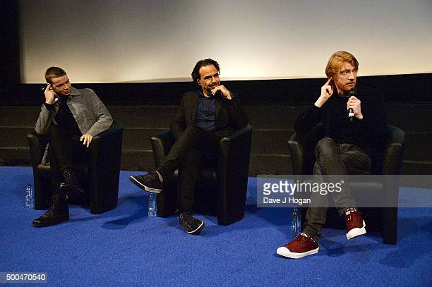 Will Poulter, Director Alejandro Gonzalez Inarritu and Domhnall Gleeson attend a BAFTA Q&A of 'The Revenant' at Vue Leicester Square on December 6,...