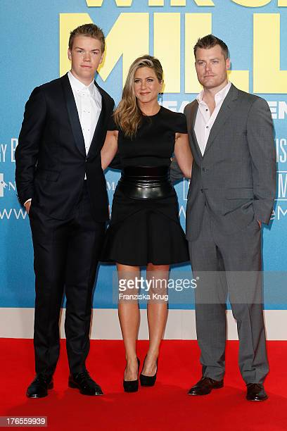 Will Poulter Jennifer Aniston and Rawson Thurber attend the 'We're The Millers' Germany Premiere at Cinestar on August 15 2013 in Berlin Germany
