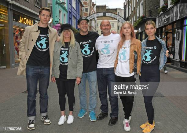 Will Poulter Jo Wood Tyrone Wood Simon Quayle Mary Charteris and Pixie Geldof attend the unveiling of ocean conservation group Project 0's 'One Ocean...