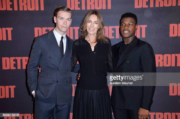 Will Poulter Kathryn Bigelow and John Boyega attend the 'Detroit' Paris premiere at Cinema UGC Normandie on September 29 2017 in Paris France