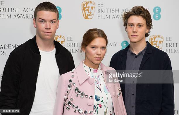 Will Poulter Lea Seydoux and George MacKay attend the nominations photocall for the EE Rising Star award at BAFTA on January 6 2014 in London England
