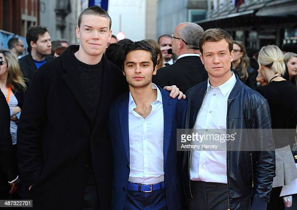 Will Poulter Sebastian de Souza and Ed Speleers attend the UK Premiere of Plastic at Odeon West End on April 29 2014 in London England