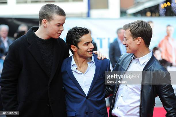 Will Poulter Sebastian De Souza and Ed Speleers attend the UK premiere of 'Plastic' on April 29 2014 in London England