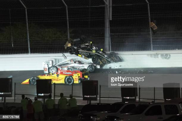 Will Power and Ed Carpenter crash on the first lap of the Verizon IndyCar Series Bommarito 500 on August 26 at Gateway Motorsports Park in Madison...