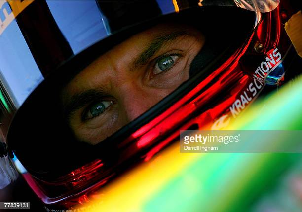 Will Power driver of the Team Australia Panoz DP01 looks on during practice for the ChampCar World Series Grand Premio Tecate on November 10 2007 at...