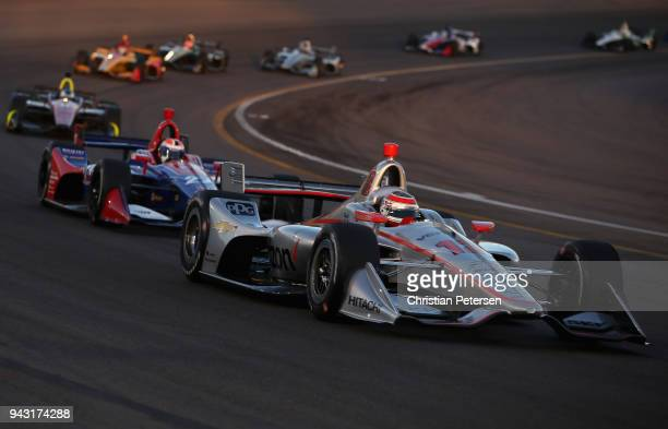 Will Power driver of the Team Penske Chevrolet IndyCar leads the pack during the Verizon IndyCar Series Phoenix Grand Prix at ISM Raceway on April 7,...