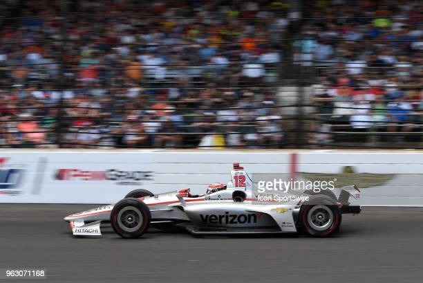 Will Power driver of the Team Penske Chevrolet speeds down the front stretch during the IndyCar Series Indianapolis 500 on May 27 at the Indianapolis...