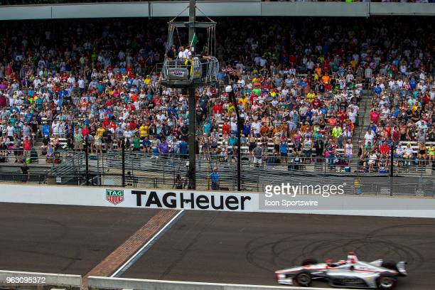 Will Power driver of the Team Penske Chevrolet takes the green flag on a restart during the running of the 102nd Indianapolis 500 presented by Penn...