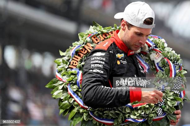 Will Power driver of the Verizon Team Penske Chevrolet celebrates after winning the 102nd Indianapolis 500 at Indianapolis Motorspeedway on May 27...