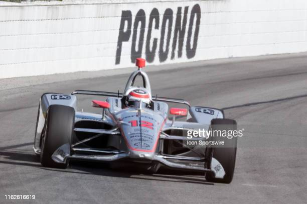 Will Power driver of the Verizon Team Penske Chevrolet exits turn 2 during the ABC Supply 500 on August 18 at Pocono Raceway in Long Pond PA