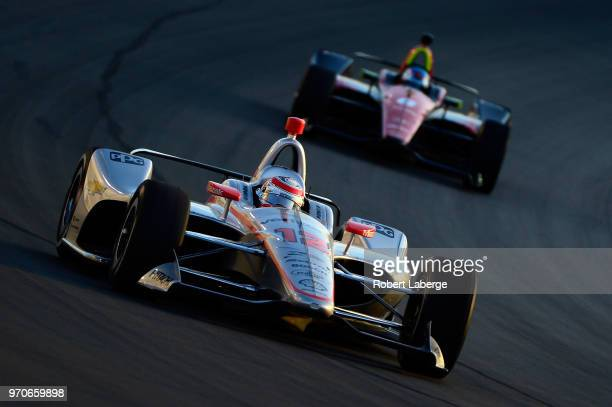 Will Power driver of the Verizon Team Penske Chevrolet leads a pack of cars during the Verizon IndyCar Series DXC Technology 600 at Texas Motor...