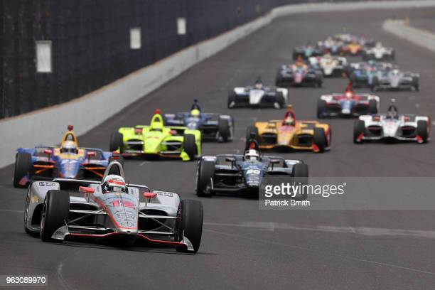 Will Power driver of the Verizon Team Penske Chevrolet leads the field during the 102nd Indianapolis 500 at Indianapolis Motorspeedway on May 27 2018...