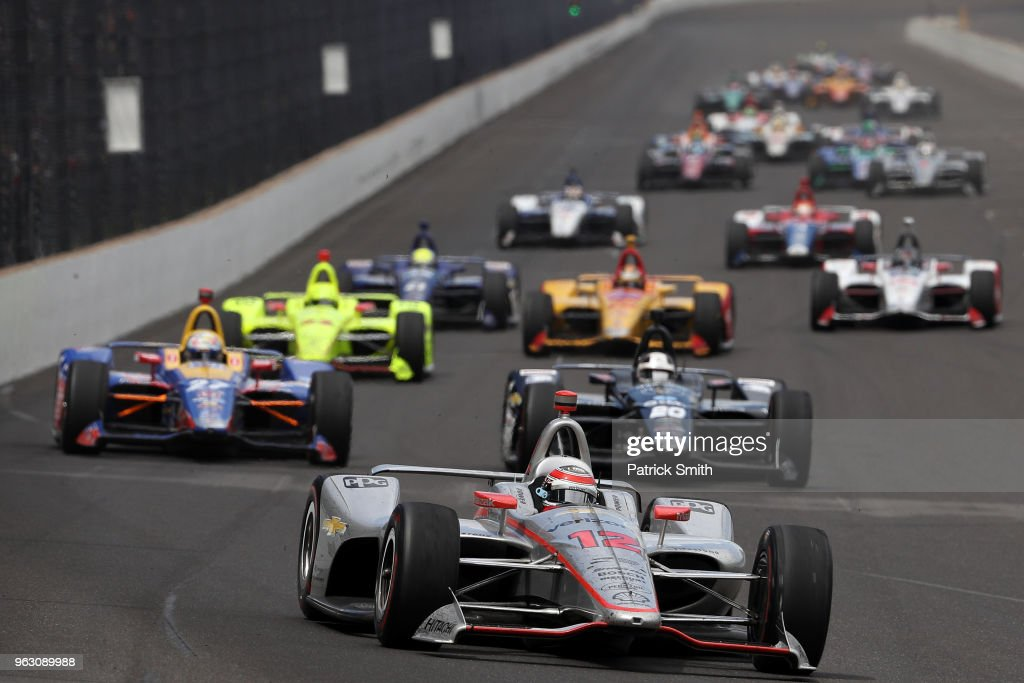 Will Power, driver of the #12 Verizon Team Penske Chevrolet, leads the field during the 102nd Indianapolis 500 at Indianapolis Motorspeedway on May 27, 2018 in Indianapolis, Indiana.
