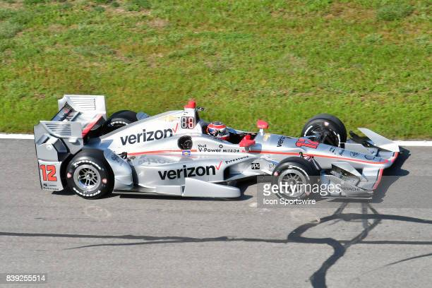 Will Power drives the Chevrolet IndyCar for Team Penske during a practice run for the Bommarito Automotive Group 500 on August 25 at Gateway...