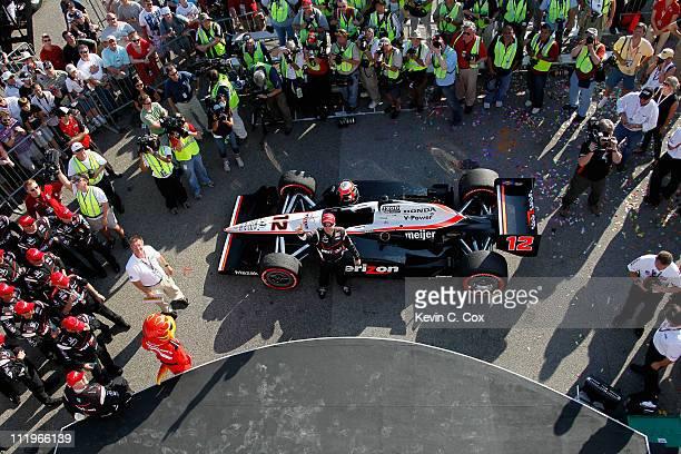 Will Power of Australia, driver of the Team Penske Dallara Honda, celebrates after winning the IndyCar Series Honda Indy Grand Prix of Alabama at...