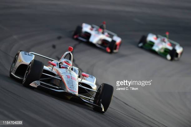 Will Power of Australia driver of the Verizon Team Penske Chevrolet leads a pack of cars during the NTT IndyCar Series DXC Technology 600 at Texas...