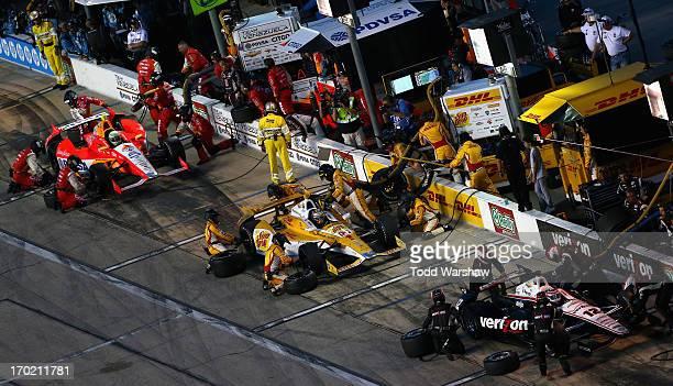 Will Power of Australia driver of the Verizon Team Penske Chevrolet EJ Viso of Venezuela driver of the Team Venezuela PDVSA/Andretti Autosport...