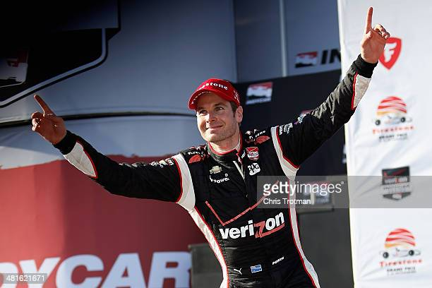 Will Power of Australia driver of the Verizon Team Penske Chevrolet celebrates his victory in the Verizon IndyCar Series Firestone Grand Prix of St...