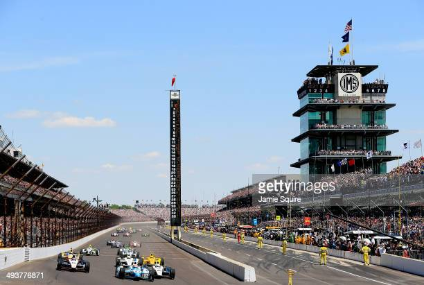 Will Power of Australia driver of the Verizon Team Penske Chevrolet Dallara James Hinchcliffe driver of the Andretti Autosport Honda Dallara and Ed...