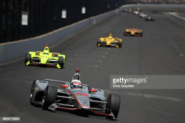 Will Power of Australia driver of the Verizon Team Penske Chevrolet leads a pack of cars during the 102nd Running of the Indianapolis 500 at...