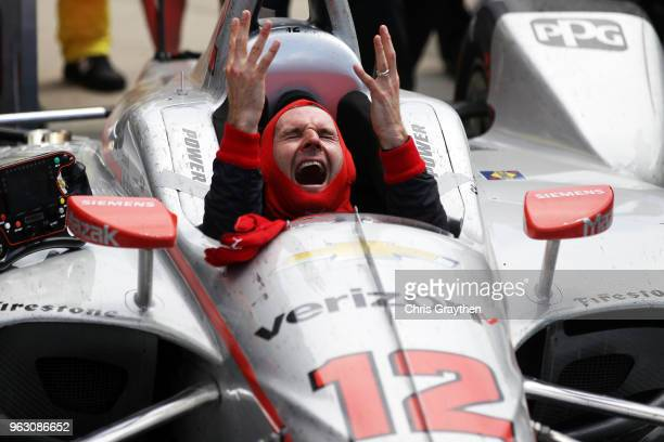 Will Power of Australia driver of the Verizon Team Penske Chevrolet celebrates after winning the 102nd Running of the Indianapolis 500 at...