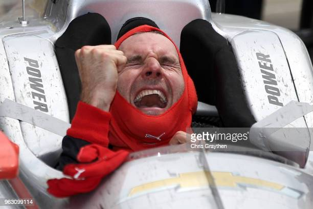 Will Power of Australia, driver of the Verizon Team Penske Chevrolet celebrates after winning the 102nd Running of the Indianapolis 500 at...