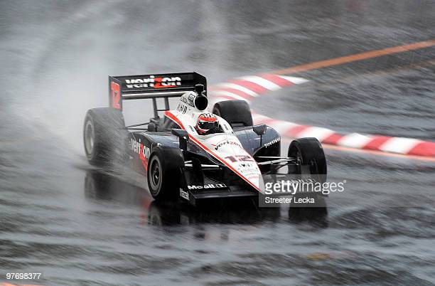 Will Power of Australia driver of the Verizon Team Penske Dallara Honda drives through the rain during the IRL IndyCar Series Sao Paulo Indy 300 on...