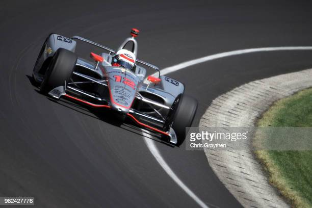 Will Power of Australia driver of the Verizon Team Penske drives during Carb Day for the 102nd running of the Indianapolis 500 at Indianapolis...
