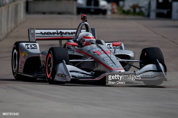 Will Power of Australia drives the Chevrolet Indy car on the track during practice for the Verizon IndyCar series race at the Chevrolet Detroit Grand...