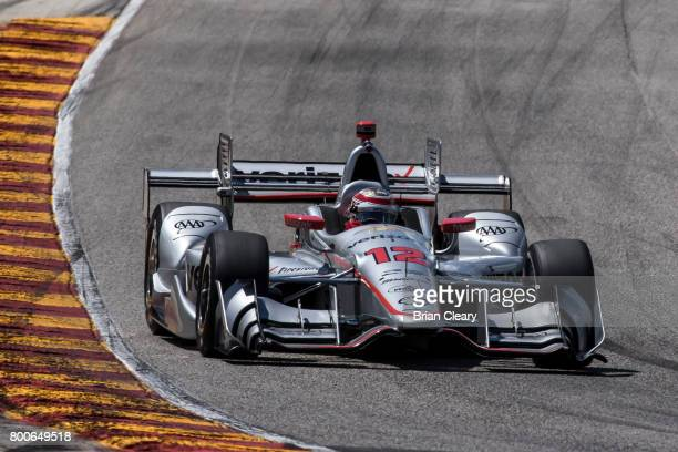 Will Power of Australia drives the Chevrolet IndyCar on the track during practice for the Kohler Grand Prix IndyCar race at Road America on June 24...
