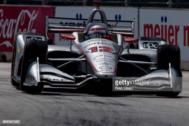 Will Power of Australia drives the Chevrolet IndyCar on the track during the Chevrolet Detroit Grand Prix presented by Lear IndyCar race on June 3...
