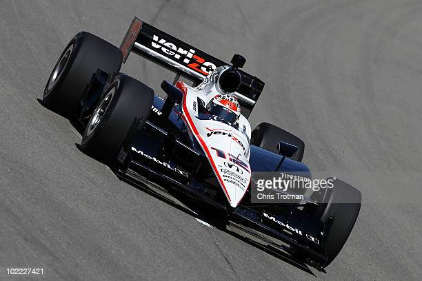 Will Power of Australia drives the Verizon Team Penske Dallara Honda during practice for the IRL Indycar Series Iowa Corn Indy 250 on June 19 2010 at...