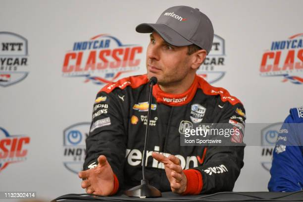 Will Power of Team Penske driving a Chevy speaks during a press conference following the IndyCar afternoon qualifications at Circuit of the Americas...