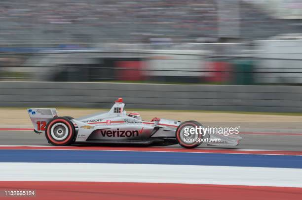 Will Power of Team Penske driving a Chevy streaks to a comfortable lead before the caution at lap 45 during the IndyCar Classic at Circuit of the...