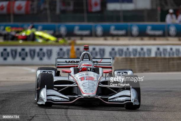 Will Power second place finisher of the Chevrolet Dual in Detroit part of the Verizon Indy Car Series drives during 2018 Chevrolet Detroit Grand Prix...