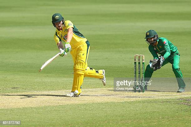 Will Pucovski of the CA XI bowls during the tour match between Pakistan and the CA XI at Allan Border Field on January 10 2017 in Brisbane Australia